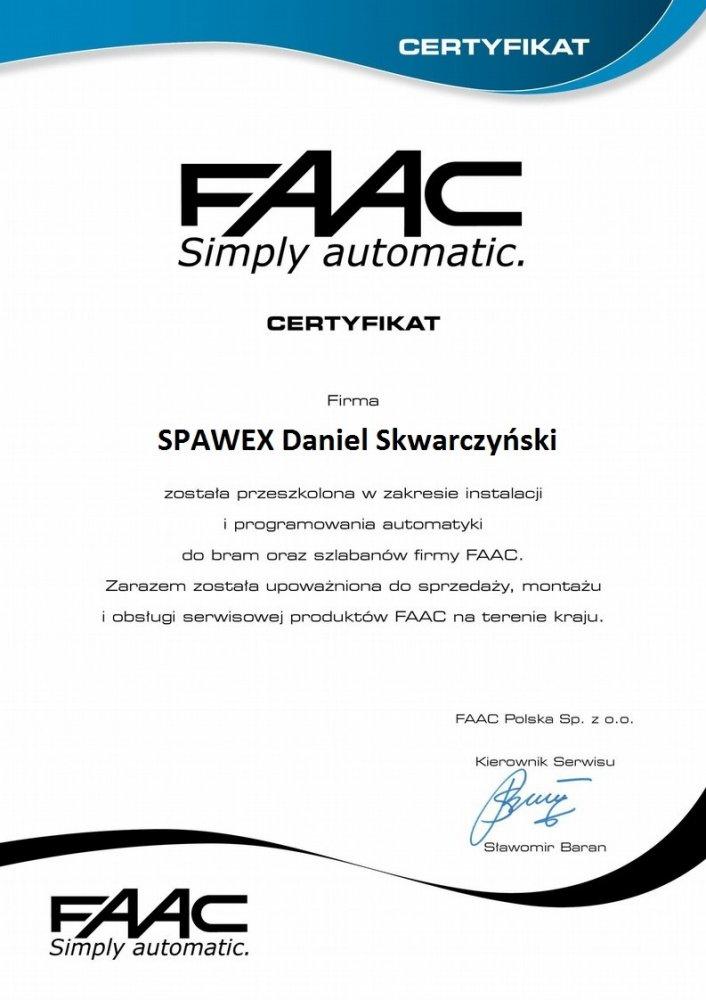 Certyfikat - FAAC