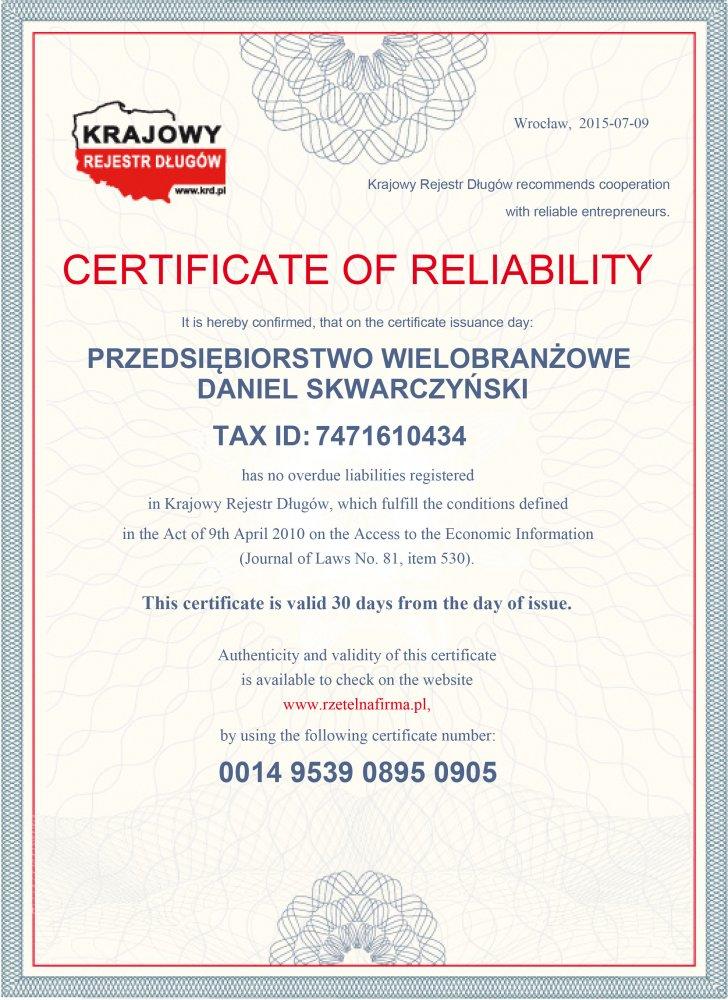 Certyfikat  EN